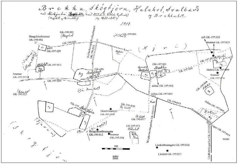 Brekka og nálægir bæir - Túnakort 1917