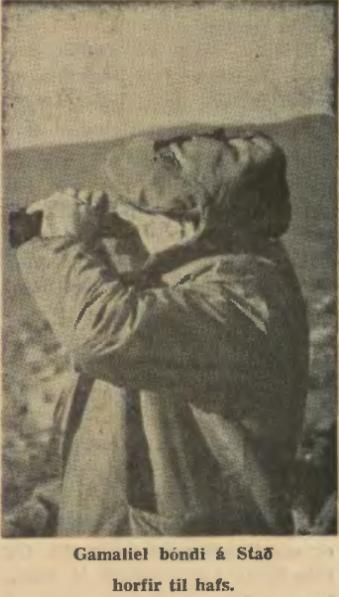 Manni á Stað skyggnist yfir Staðarbótina