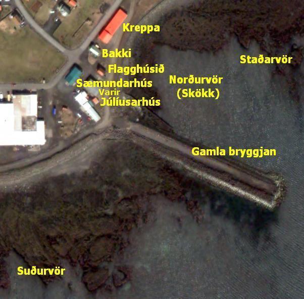 Loftmynd af svæðinu ofan við gömlu bryggjuna