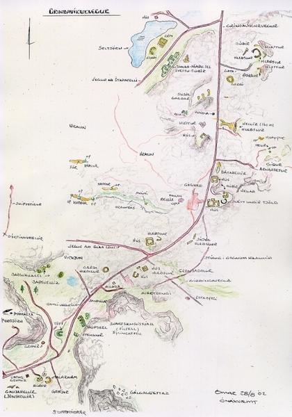 Kort af Grindavíkurveginum