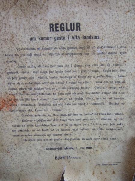 Reglur um komur gesta í vita landsins 1910