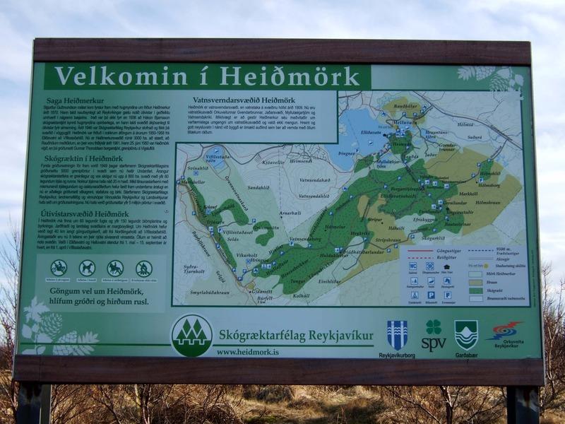 Upplýsingaskilti í Heiðmörk