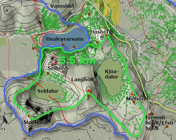 Kort af Húshöfðasvæðinu