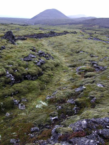Gamla þjóðleiðin yfir Leggjarbrjótshraun - ruddi slóðin fjær