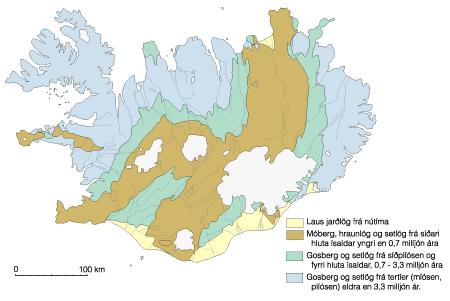 Bergrunndur Íslands - brúnt er móbergshryggjasvæðin