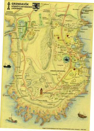 Örnefnakort á Þórkötlustaðanesi
