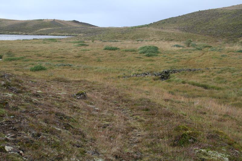 Seljadalsvegur, brúin (t.h.) og Leirtjörn fjær