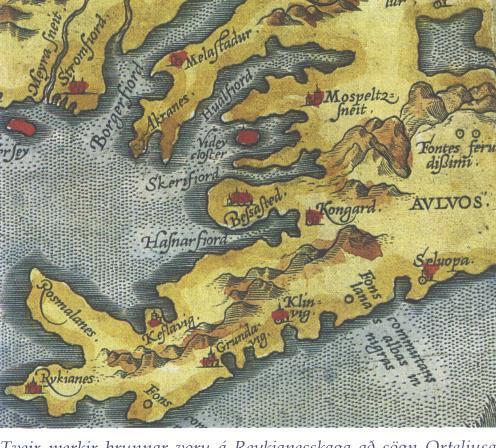 Merkir  brunnar á Reykjanesskaga - kort Orteliusar 1570