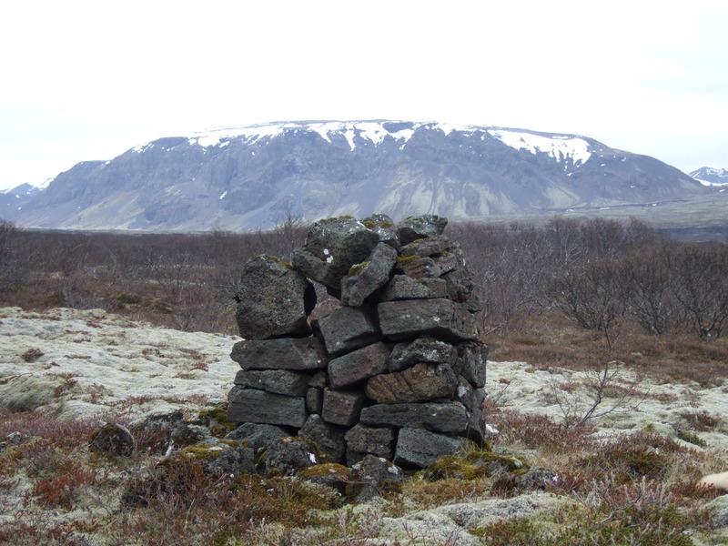 Merkjavarða í Þingvallahrauni